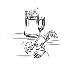 Beer Hand Drawn Illustration. Vintage Background. Eps10