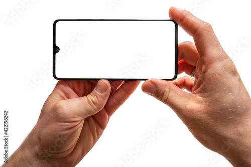 Fototapeta Leeres Handydisplay als Vorlage für individuelle Anpassungen vor weißem Hintergr