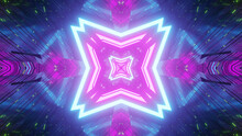 3D Rendering Of Futuristic Bright Neon Pink And Blue Fractal Particles