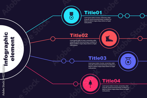 Set Medal, Sport boxing shoes, Gong and Ringing bell. Business infographic template. Vector