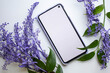 canvas print picture - phone mockup with violet flowers