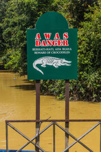 Danger Crocodile Sign In The Niah National Park, Malaysia
