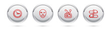 Set Line Sauna Clock, Facial Cosmetic Mask, Bar Of Soap And Slippers. Silver Circle Button. Vector
