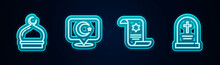 Set Line Muslim Mosque, Star And Crescent, Torah Scroll And Tombstone With Cross. Glowing Neon Icon. Vector