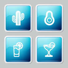 Set Line Cactus, Avocado Fruit, Tequila Glass With Lemon And Margarita Cocktail Icon. Vector