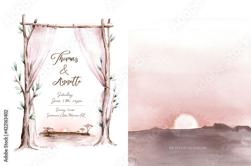 Fototapeta Watercolor wedding arch with tree branches. Vintage design template for invitation, card, poster. illustration, festive frame, decorative arch, window curtain, drapery, flower decorations obraz