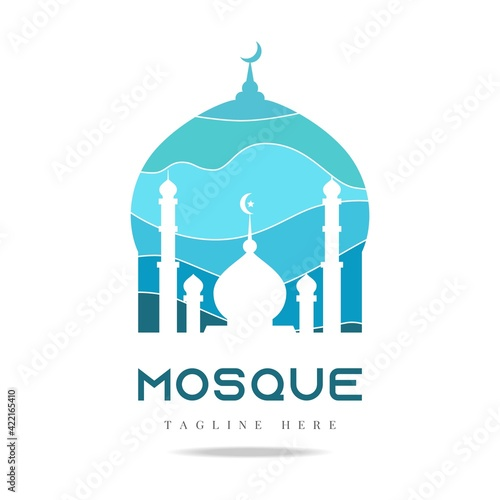 Fotografie, Obraz Blue Mosque palace Logo icon arab islamic vector