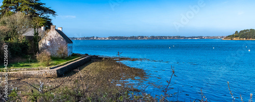 Fotografiet Brittany, panorama of the Morbihan gulf
