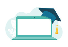 Laptop With Blank Screen, Academic Mortarboard Graduate Cap. Online Learning Concept. Vector Stock Illustration.