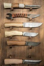 Various Handmade Knives With Ornamental Steel