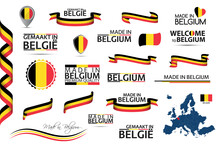 Big Vector Set Of Belgian Ribbons, Symbols, Icons And Flags Isolated On A White Background. Made In Belgium, Premium Quality, Belgian National Tricolor. Set For Your Infographics And Templates