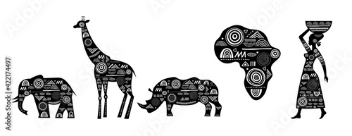 Cuadros en Lienzo Africa banner with elements - patterned giraffes, elephant, African map, woman a