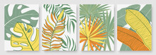 Abstract Minimal Yellow Green Tropical Palm Tree Leaves Vector Illustration Set. Minimalist Hand Drawn Nature Leaf, Tropic Beach, Jungle Or Summer Garden, Vertical Template Background