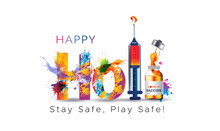 Illustration Of Covid 19 Vaccine, Safety Mask, Social Distancing And Happy Holi. Indian Holi Festival Of Color Splash Background Concept With Creative Typography Text