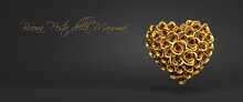 """3d Rendering: A Heart Of Golden Roses In Front Of A Black Background And The Italian Message """"Buona Festa Della Mamma!"""" (""""Happy Mother's Day""""). Web Banner Format"""