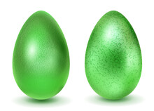 Two Realistic Easter Eggs With Different Surface Texture In Green Colors. With Shadow On White Background