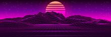 Retro Futuristic Background Landscape 1980s Style. 80s Retro Sci-Fi Background. Vector Futuristic Illustration Of Sun With Mountains In Retro Style.