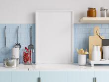 Mock Up Poster Frame In Kitchen Interior.