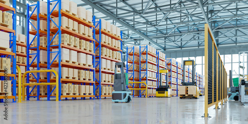 AGV robots efficiently sorting hundreds of parcels per hour(Automated guided vehicle) AGV.