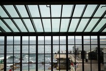 Monterey Bay, CA - FEBRUARY 20, 2014: Looking Through Windows Of The Monterey Bay Aquarium Out Into The Observation Area