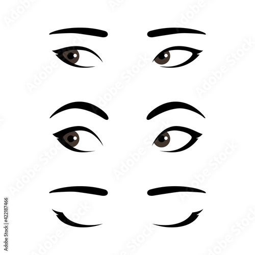 Fotografie, Obraz Set of stylized asian woman's eyes expressing different emotions