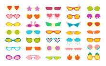 Glasses Carnival Party Stylish Cartoon Set. Masquerade Costume Glasses Heart Star Cloud Eye Funny Shaped. Fashion Hawaiian Woman Beach Sunglasses. Hand Drawn Isolated Trendy Vector Illustration