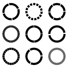 Dashed Lines Spiral, Swirls, And Twirls. Concentric, And Circular Volute, Helix Vector Element
