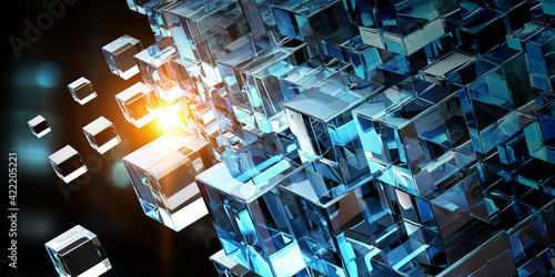 Fototapeta Floating shiny cube network . Mixed media obraz