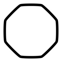 Rounded Octagon Contour, Outline Shape. Soft, Smooth Design Element