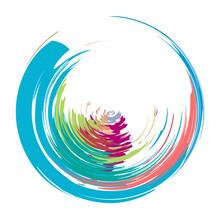 Grungy, Grunge, Textured Circle, Circular Splash Effect. Paintbrush, Brushstroke Vector. Ink, Fluid, And Liquid Stain, Splash Effect