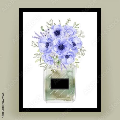 perfume with anemone flower watercolor illustration Fototapeta