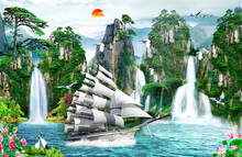 3d Illustration Of A Sailing Boat Moving Next To A Waterfall And Birds In Flight