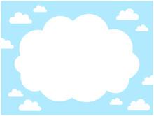 青空と雲のシンプルな背景フレーム