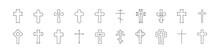Stroke Vector Cross Line Icons.