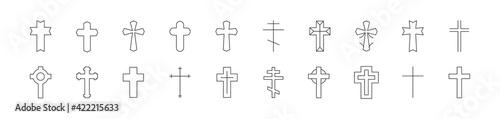 Stroke vector cross line icons. Fototapet