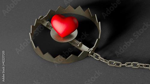 Fotografering Heart in a trap. Red heart bait in a trap. 3d render
