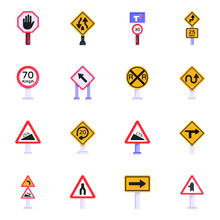 Set Of Traffic Road Signs Flat Icons