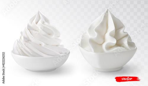 Fotografia, Obraz Set of whipped cream in white bowl isolated