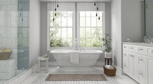 Beautiful Grey And White Bathroom Interior With Big Window In Classic Style. 3D Render