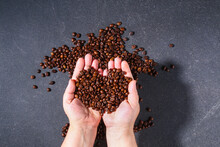 Roasted Brown Coffee Beans On A Gray Background. Template For Advertising Coffee In Shape Heart In Hand. Top View.