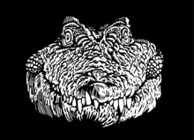 Graphical  White Silhouette Of Crocodile On Black Background,3D Illustration