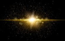 Vector Shiny Golden Glitter Dust. Sparkling Glittery Background Decoration.