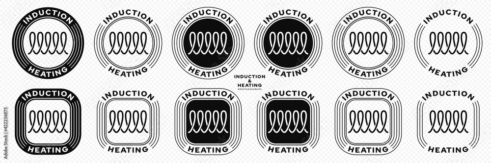 Fototapeta Concept for product packaging. Marking is an induction type of heating. Flat induction symbol in a stamp. Vector elements.
