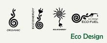 Environmental Design. A Set Of Templates For Creating Logos, Emblems On The Theme Of Ecology, Organics, Alternative Fuels, Solar Energy.
