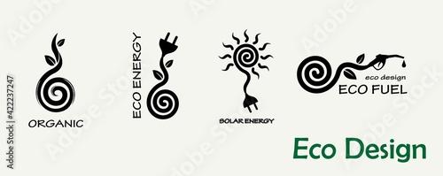 Environmental design. A set of templates for creating logos, emblems on the theme of ecology, organics, alternative fuels, solar energy.