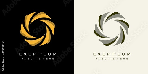 Abstract sign of swirling arrows converging in the center. Template for creating a logo, emblems.