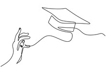 One Line Drawing Group Of Young Happy Graduate Hand's College Student Jump While Throwing The Graduation Cap. A Male Express To Celebrate His School Graduation. Education Celebration Concept