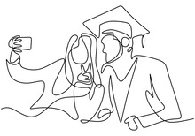 Continuous Line Drawing Of Happy Graduation Student Taking Selfie Photo With His Sister Isolated On White Background. Graduation Celebration Concept. Hand Drawn Line Art Minimalism Design