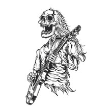 Illustration Of  A Rock Star With Guitar White Background Illustration