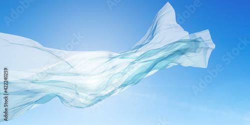 Leinwand Poster 光を受けて風にはためく布 / 爽やかな光と風のアブストラクト / 背景・コンセプトイメージ / 3Dレンダリンググラフィックス